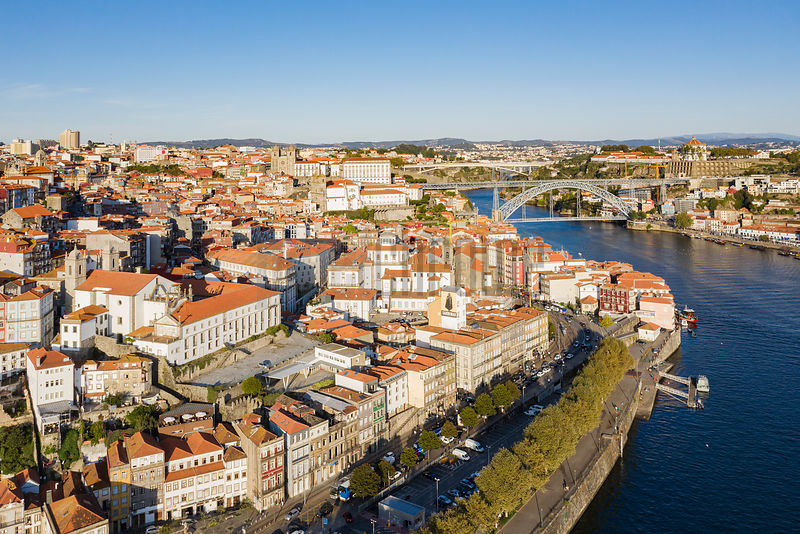 Aerial View of the Douro River Separating Ribeira and Gaia Districts