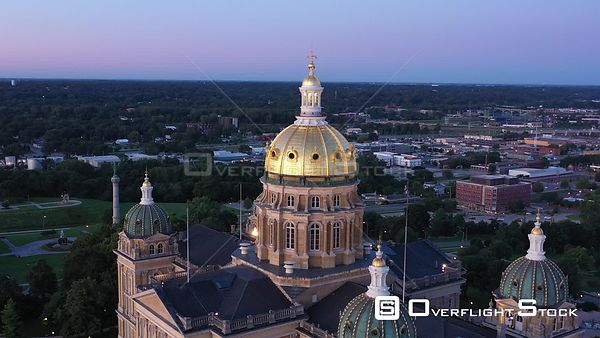 Golden State Capital Dome and City Buildings, Des Moines, Iowa, USA