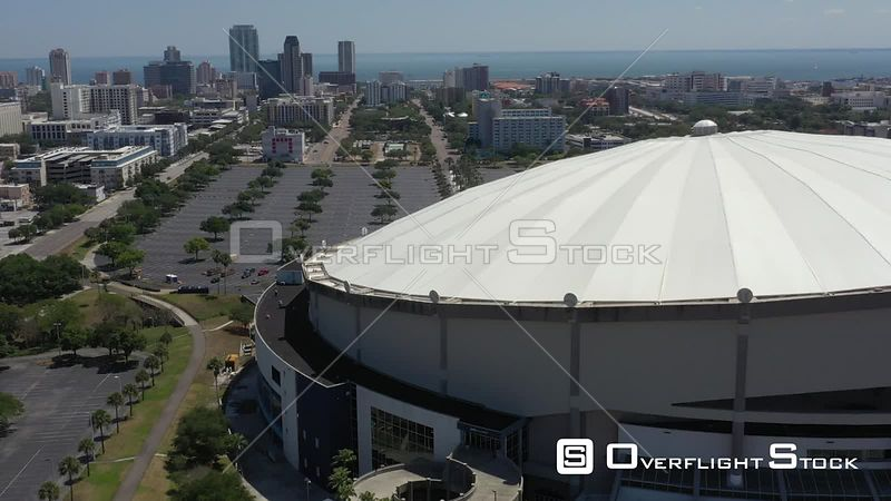 Aerial Footage Downtown St. Petersburg Florida Tropicana Field Covid 19 Empty Lot