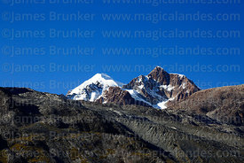Mt Ancohuma and lateral moraines below Laguna Glaciar, Bolivia