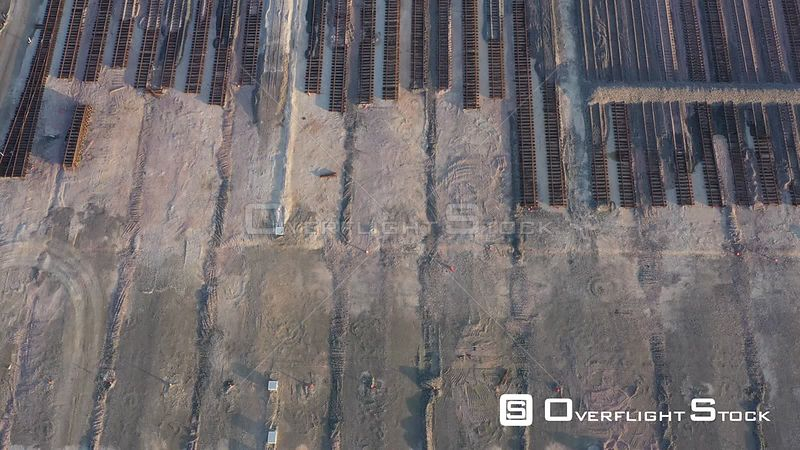Rows of train tracks in a railyard under construction, Mumford, Texas, USA