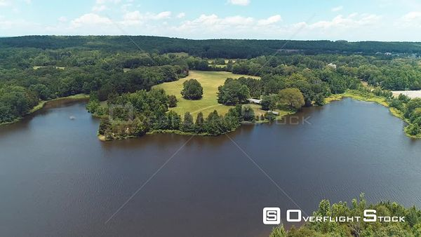 Rural Lake and Home Arkansas Drone Aerial View