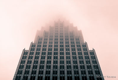 Bank of America Center in the fog