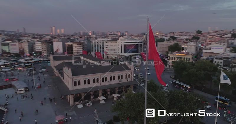 Aerial View of Turkish Flag in Kadikoy Istanbul Turkey