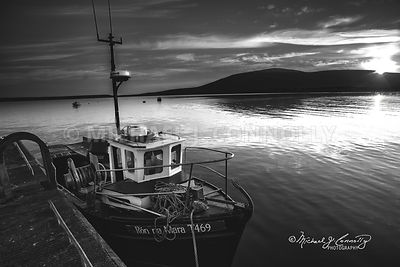 Docked Boat in Ventry Bay Ireland (B&W)