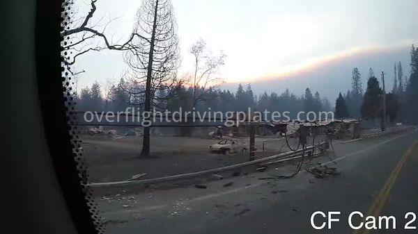 Camp Fire Post Fire Smoke  Paradise California USA - Center Front View Driving Plate Cam2 Feb 15, 2019