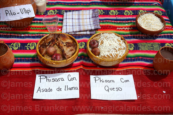 Typical local quinoa based dishes called phisara on stall at an event to promote quinoa products, Pampa Aullagas, Bolivia