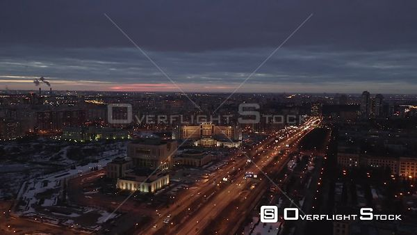 Nightflight Over Moscow Highway. Moscow Russia Drone Video View