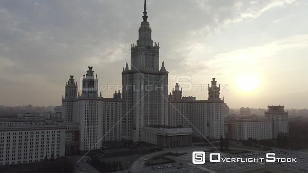 Sunset Moscow State University Low Approach. Moscow Russia Drone Video View