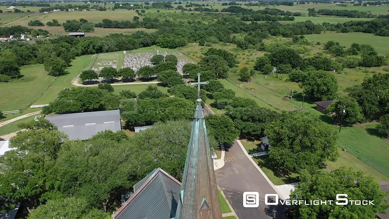 Rural church and graveyard, Schulenburg, Texas, USA