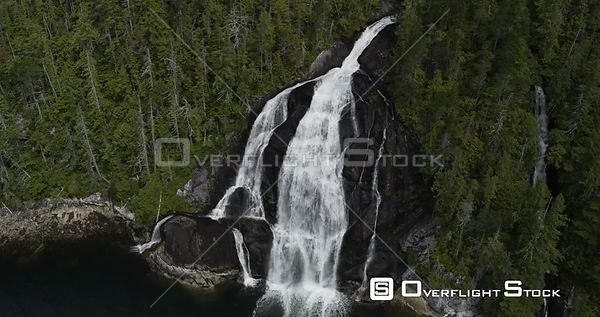 Central Coast, BC Canada. Great Bear Rainforest Fjords, Heiltsuk Nation, Bella Bella Tidewater Waterfall