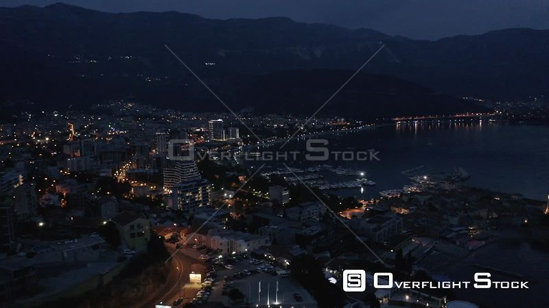 Drone Video of Nighttime Budva Montengro