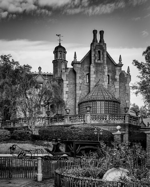 Haunted Mansion and Horseless Hearse | Black and White Print