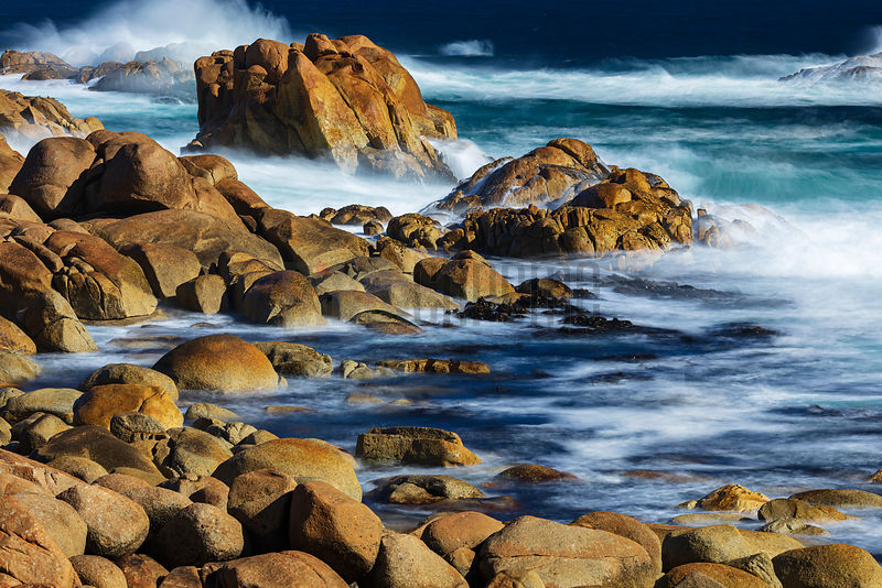 Waves Crashing on a Granite Shoreline