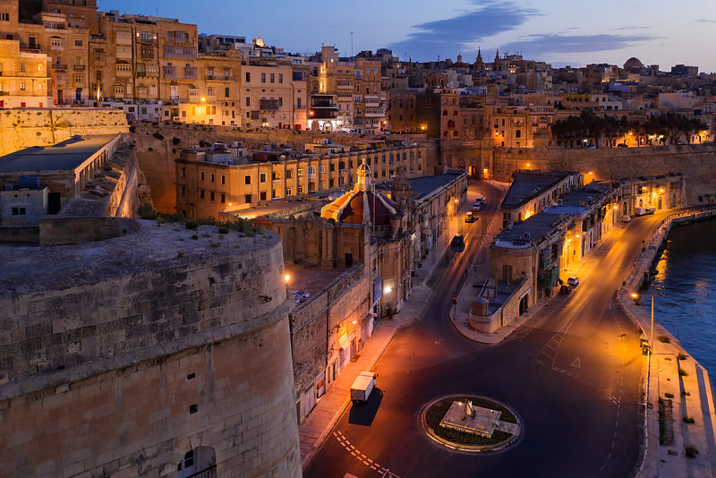 A View of Valetta along Quarry Wharf at Dawn