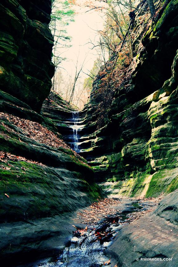 WATERFALL FRENCH CANYON STARVED ROCK STATE PARK ILLINOIS COLOR VERTICAL
