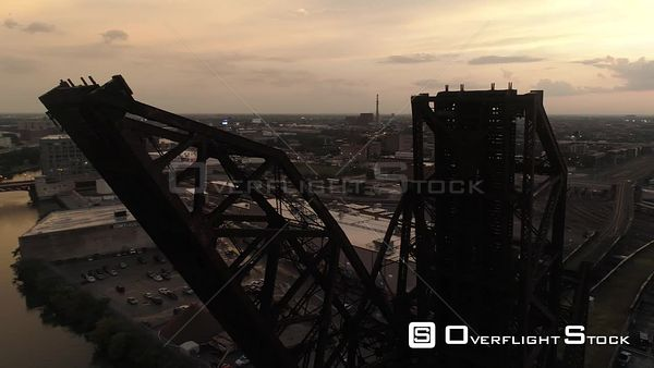 St Charles Air Line Bridge Chicago Illinois Drone Aerial View