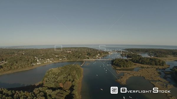 Aerial high to low flyover shot of York Harbor area, Maine.