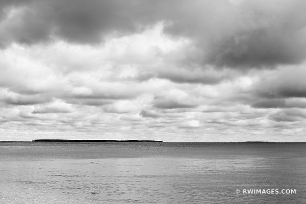 ST. MARTIN ISLAND LAKE MICHIGAN VIEW FROM ROCK ISLAND STATE PARK DOOR COUNTY WISCONSIN BLACK AND WHITE