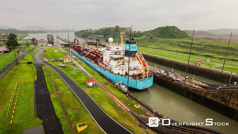 Panama Panama Canal time lapse of ship leaving,