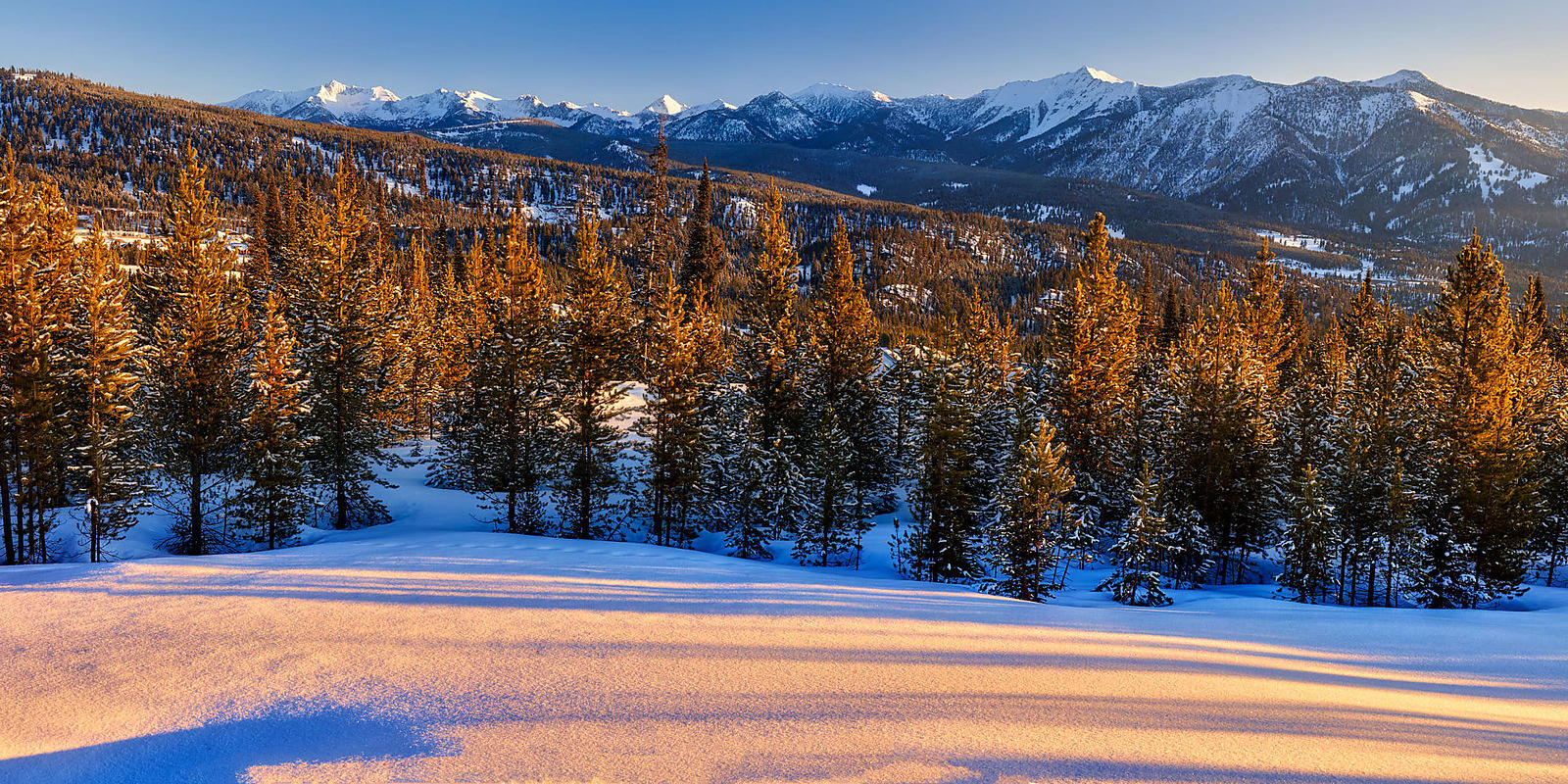 Spanish Peaks Winter Sunrise Panorama
