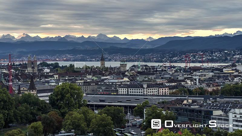 Drone Video Cityscape Zurich Switzerland