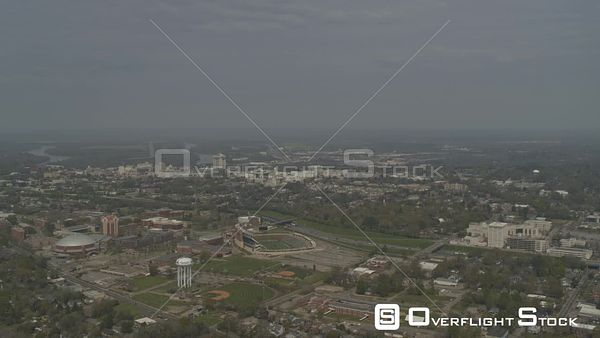 Montgomery Alabama pull out reveal of state university campus, downtown buildings and the river  DJI Inspire 2, X7, 6k