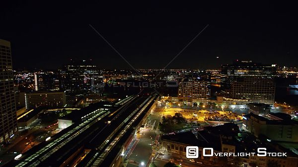 New Jersey Newark Aerial Cityscape Downtown Night