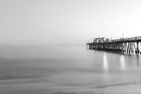 Capitola Wharf Pier at Dusk Black and White Photo