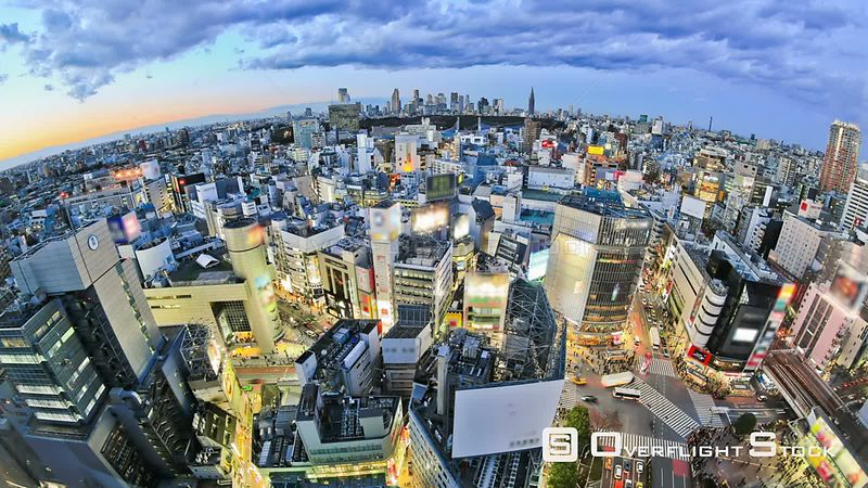 Tokyo  Japan Tokyo cityscape time lapse over Shibuya just after sunset.