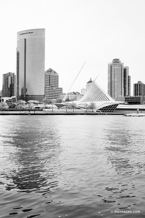 MILWAUKEE LAKEFRONT ART MUSEUM AND DOWNTOWN SKYLINE MILWAUKEE WISCONSIN BLACK AND WHITE VERTICAL