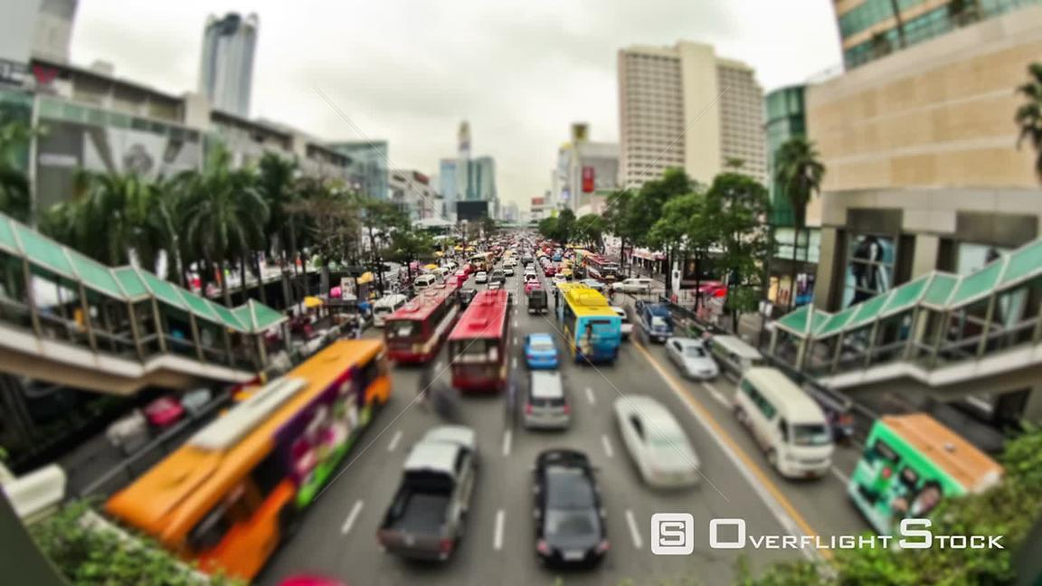 Busy City traffic time lapse of  Bangkok traffic. Thailand