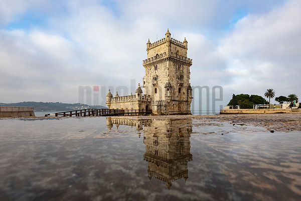 Belém Tower or the Tower of Saint Vincent Reflected in a Puddle
