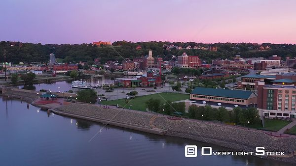 River City Harbor and Downtown Buildings at Sunrise, Dubuque, Iowa, USA