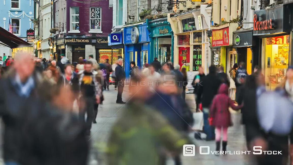City pedestrian traffic time lapse in Galway, Ireland
