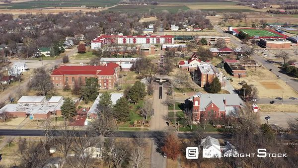 Small College Campus in a Rural Small Town, Lindsborg, Kansas, USA
