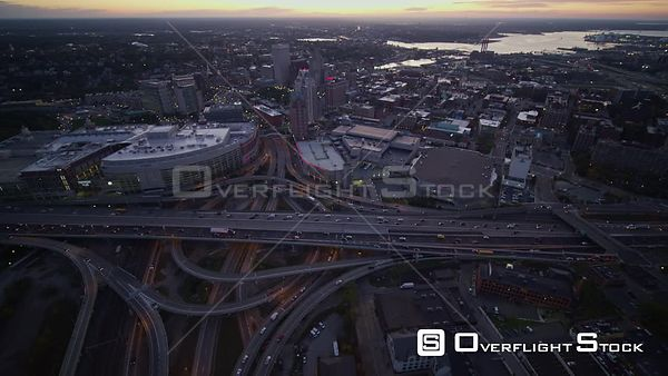 Providence Rhode Island Panning birdseye expressway intersection cityscape at sunrise