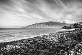 Maui Kamaole Beach Maalaea Bay Black and White Photo