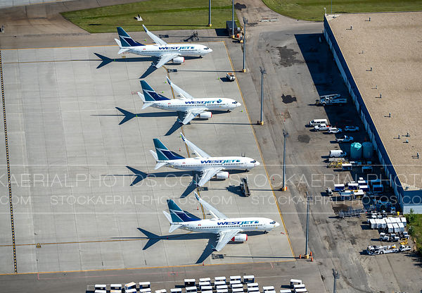Parked Westjet Aircraft at Calgary International Airport