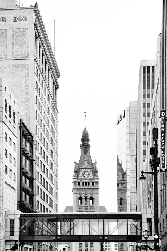MILWAUKEE CITY HALL TOWER DOWNTOWN MILWAUKEE WISCONSIN BLACK AND WHITE VERTICAL