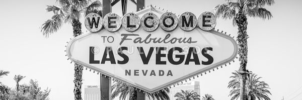Las Vegas Welcome Sign High Resolution Black and White Panorama Photo