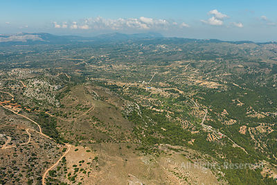 Aerial Image of the Inland on Island of Rhodes Greece