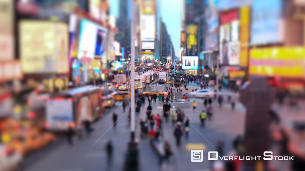 NYC New York USA Busy city traffic time lapse of Times Square, tilt shift and circular blur.