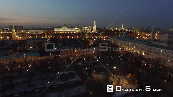 Moscow Kremlin Flight During the Night. Moscow Russia Drone Video View