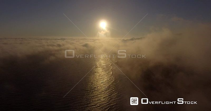 Pacific Ocean View Drone Through Clouds Califonia