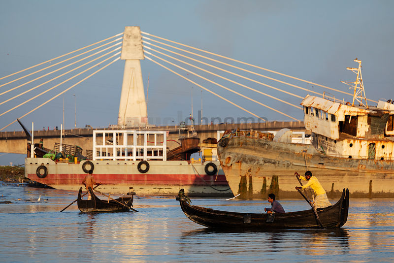 Noakhalis on the Karnaphuli River with the Shah Amant Bridge in the Background