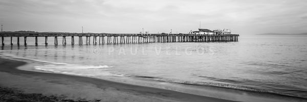 Capitola Wharf Pier Black and White Panorama Photo