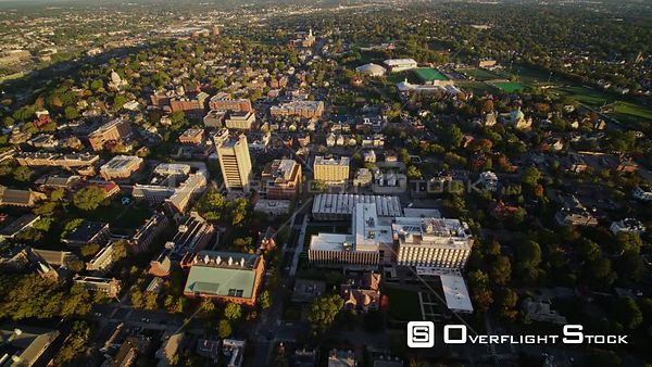 Providence Rhode Island Birdseye view of College Hill and surrounding area looking north, flying south backwards at sunrise