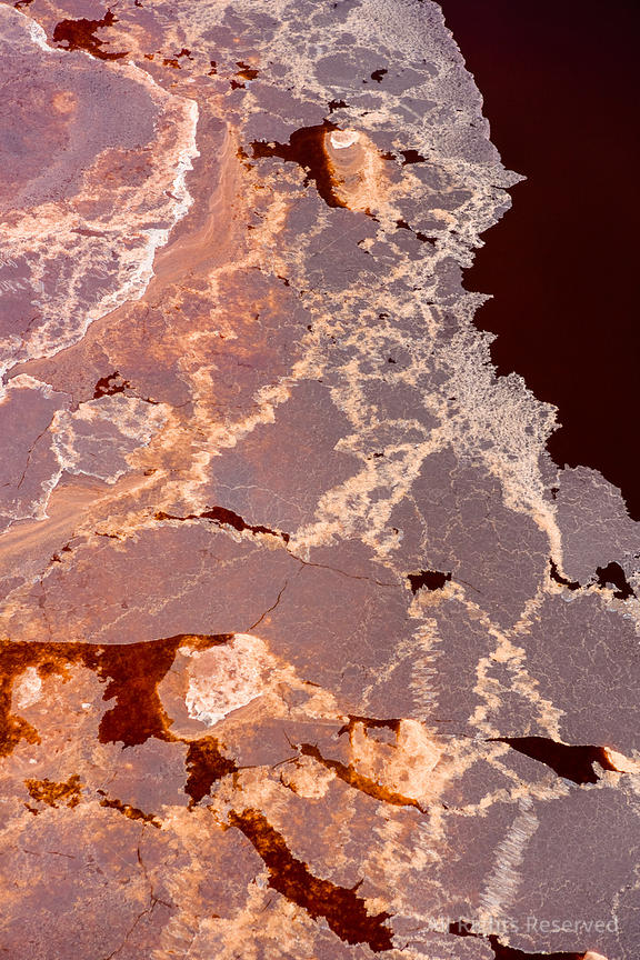 Abstract Drying Salt and Soda Patterns of Lake Natron Tanzania