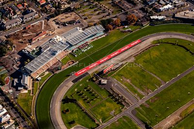 Aerial view of Moonee Valley Racecourse in Melbourne, Victoria, Australia.